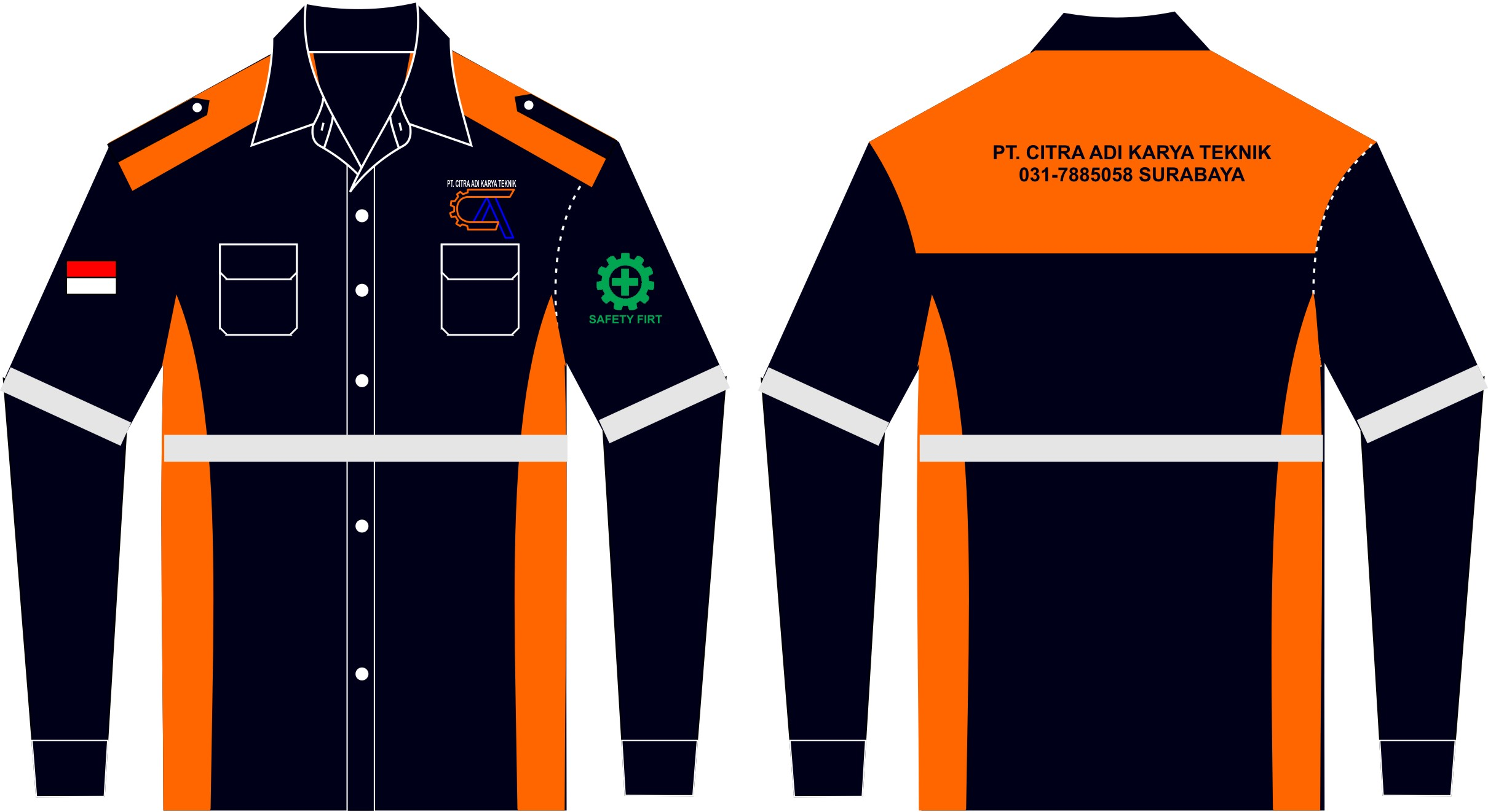 kemeja seragam lapangan safety